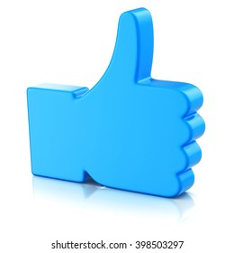 Thumbs up symbol isolated on white background  3d illustration