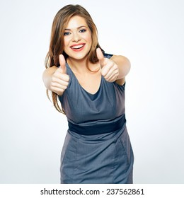 Thumbs Up. Business woman show thumbs. isolated portrait . beautiful smiling girl in business dress.