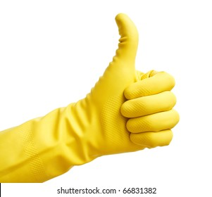 Thumbs up with a yellow vinyl glove