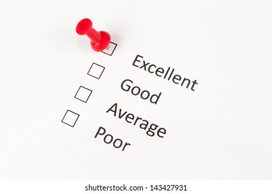 A thumbtack pinned on excellent, other options include good, average and  poor