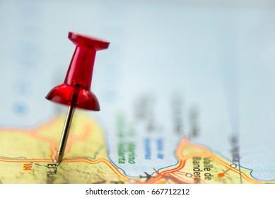 Thumbtack in a road-map - Split toned