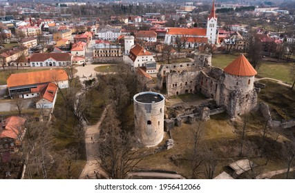 Thun Castle in Cesis from above - amazing drone footage