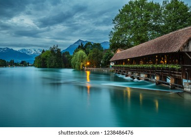 Thun city with Wooden sluice bridge,Switzerland.