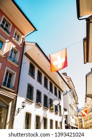 Thun old town street, Colorful buildings and flag in Switzerland