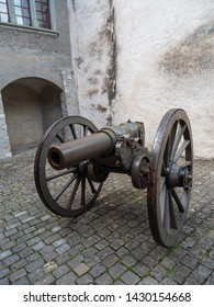 Thun, Switzerland - May 30th 2019: Old Howitzer demonstration at Thun Castle, Switzerland