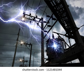 Thunder and lightning On the transformer high voltage poles.