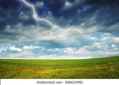 Thunder Sky. lightning in the sky. dark clouds