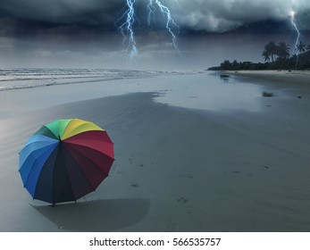 Thunder storm at beach in season rainy monsoon