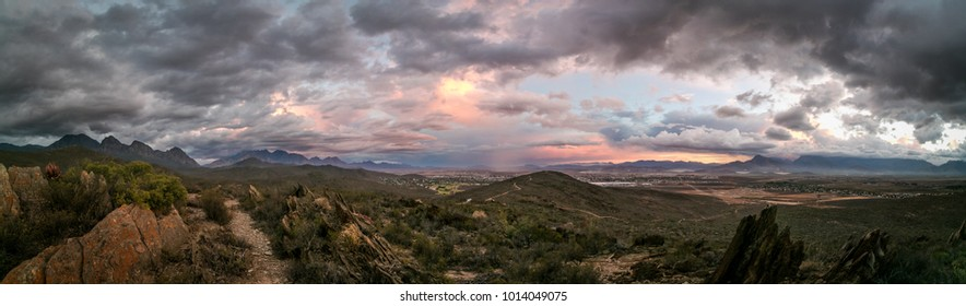 Thunder storm with epic storm clouds over Worcester in the Breede Valley in the Western Cape of South Africa