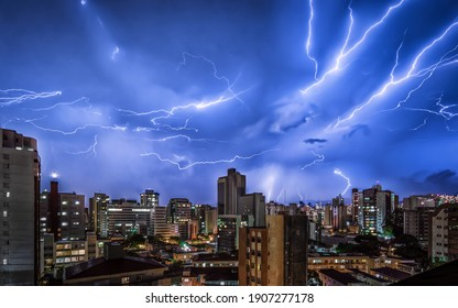 Thunder Storm with Various Lightnings Strikes In the Night Sky and the Buildings of Belo Horizonte, Minas Gerais, Brazil