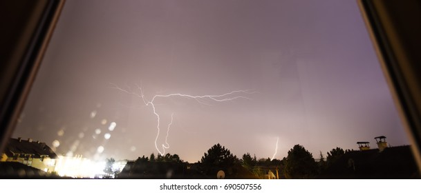 thunder strike viewed from the room