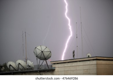 Thunder striking satellite dish