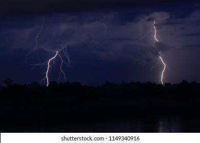 Thunder strom, electricity energy, flash light - Shutterstock ID 1149340916