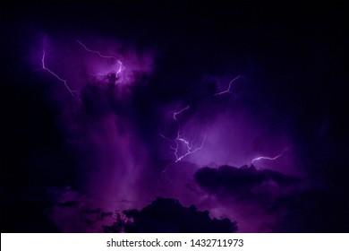 the thunder strom at night sky. - Shutterstock ID 1432711973