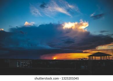 Thunder sunset on roof