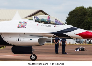 The Thunderbirds display team the seen at the 2017 Royal International Air Tattoo at Royal Air Force Fairford in Gloucestershire - the largest military airshow in the world.