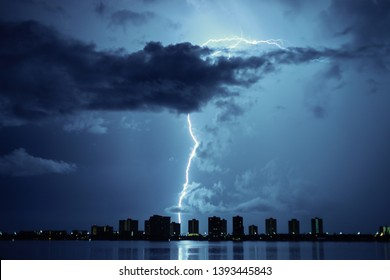 Thunderbolt and Lightning.night thunderstorm over the buildings in the city