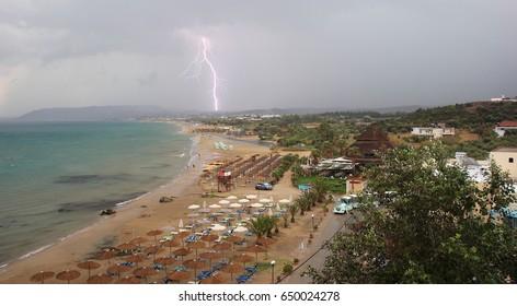 Thunderbolt over Georgioupoli beach. Crete, Greece.
