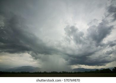 Thundercloud with possible formation of a tornado