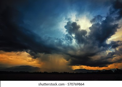 Thundercloud with possible formation of a tornado, extra tinted for more drama