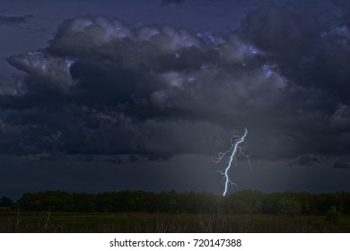 Thunderclouds and lightning