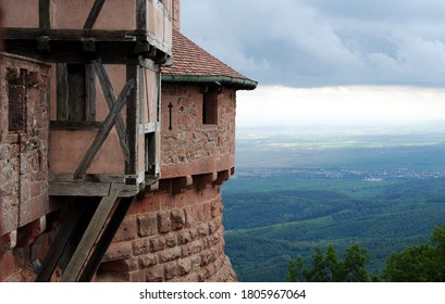 Thunderclouds over Castle Haut-Kœnigsbourg (Château du Haut-Kœnigsbourg), a medieval castle located in the Vosges mountains, Alsace, France overlooking the Upper Rhine Plain to the Black Forest  - Shutterstock ID 1805967064