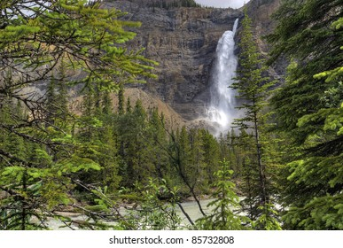 The thundering waters of Takakkaw Falls in Yoho National Park in British Columbia Canada.