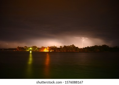 Thunderstom and lghtning on the Hasting River at night,Australia