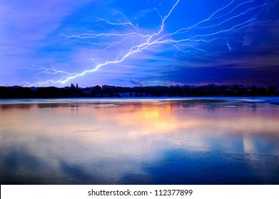 Thunderstorm above a lake