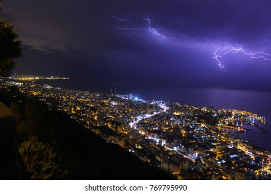 Thunderstorm approaching the city of Jounieh, Lebanon on the mediteranian coast. You can see beirut on the the left side of the picture on the horizon