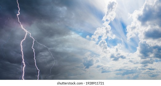 Thunderstorm and blue cloudy sky. Metaphor - a variety of conditions. Changing conditions. Actions in different circumstances. - Shutterstock ID 1928911721