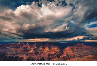 A thunderstorm builds and releases rain over the south rim of the Grand Canyon National Park in Arizona, USA.
