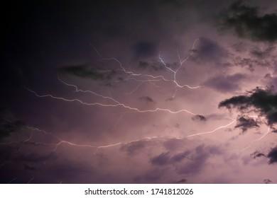 Thunderstorm cloud lighting night nature