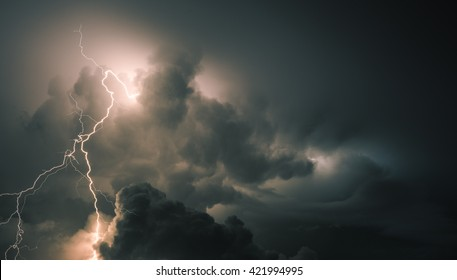 Thunderstorm Clouds with Lightning