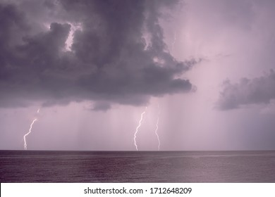 Thunderstorm in a dramatic sky