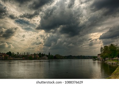 Thunderstorm formation over the river Ticino in a spring afternoon, Sesto Calende - Italy
