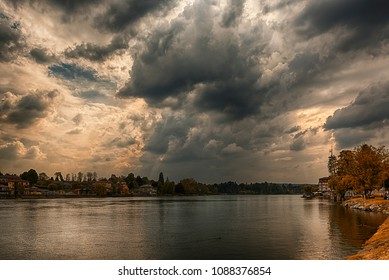 Thunderstorm formation over the river Ticino in a autumn afternoon, Sesto Calende - Italy