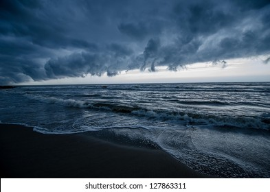 Thunderstorm heading out to sea over Asbury Park, New Jersey.