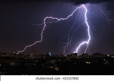 Thunderstorm with huge lightning over night city. Belarus, Minsk. May 2016
