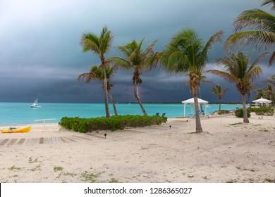 Thunderstorm with lightning in the Caribbean, Bahamas, Long Island, Bahamas