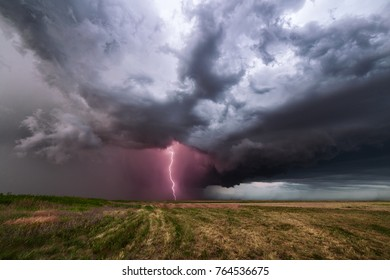 Thunderstorm with lightning and dark clouds