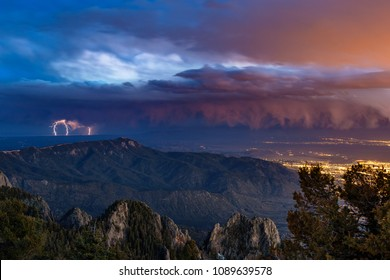 Thunderstorm with lightning over the city of Albuquerque, New Mexico from the Sandia Mountains.