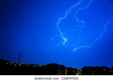 Thunderstorm with lightning over city of Rijeka