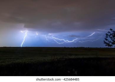 Thunderstorm with lightning and lightning strikes