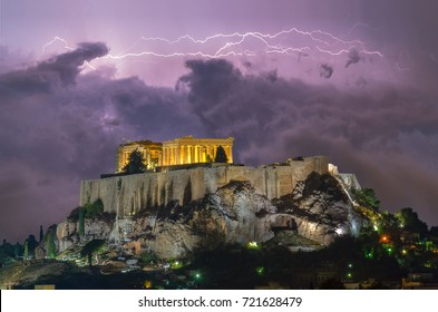Thunderstorm over Acropolis Athens