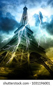 Thunderstorm in Paris. Eiffel Tower at summer storm