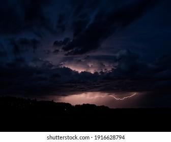 Thunderstorms with amazing lightning in Bjorkdale, Saskatchewan