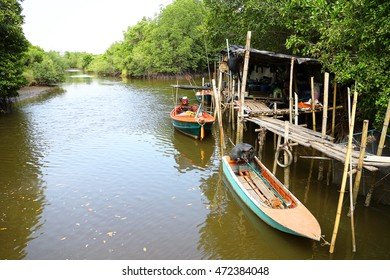 Thung Prong Thong  Rayong Thailand , August 21 - 2016 :  Thai boat in small river use for fishing and transportation in Thailand Rayong province