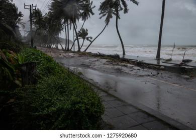 Thung Wua Laen Beach,  Chumphon provinc, Thailand - Jan 05, 2019: Storm surge from a Tropical storm Pabuk. Rain, wind and surging seawater from a tropical storm has buffeted coastal villages