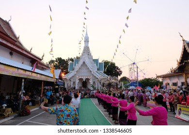 Thungsaliam, Thaialnd - Feb 14, 2019: Northern of Thailand style parade and canival at Thungsaliam temple.